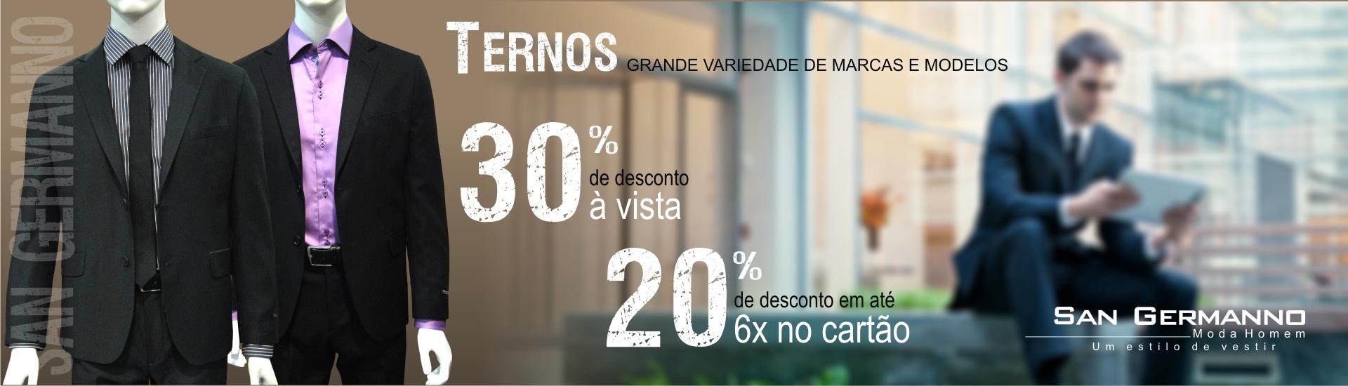 30% DESCONTO A VISTA E 20% EM ATÉ 6X NOS CARTÕES